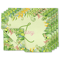Tropical Leaves Border Linen Placemat w/ Name and Initial