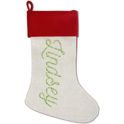Tropical Leaves Border Red Linen Stocking (Personalized)