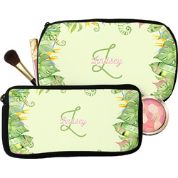 Tropical Leaves Border Makeup / Cosmetic Bag (Personalized)