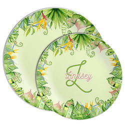 Tropical Leaves Border Melamine Plate (Personalized)