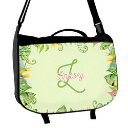 Tropical Leaves Border Messenger Bag (Personalized)