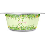 Tropical Leaves Border Stainless Steel Dog Bowl (Personalized)
