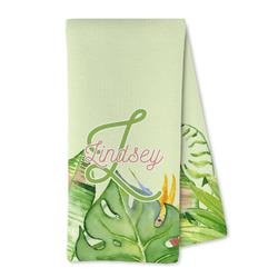 Tropical Leaves Border Microfiber Kitchen Towel (Personalized)