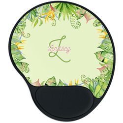 Tropical Leaves Border Mouse Pad with Wrist Support