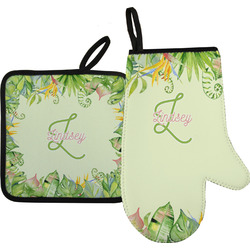 Tropical Leaves Border Oven Mitt & Pot Holder (Personalized)