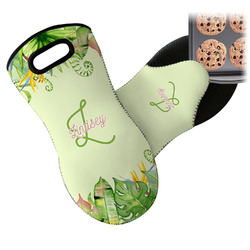 Tropical Leaves Border Neoprene Oven Mitts w/ Name and Initial