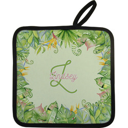 Tropical Leaves Border Pot Holder (Personalized)