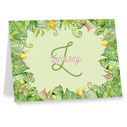 Tropical Leaves Border Notecards (Personalized)