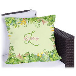 Tropical Leaves Border Outdoor Pillow (Personalized)