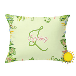 Tropical Leaves Border Outdoor Throw Pillow (Rectangular) (Personalized)