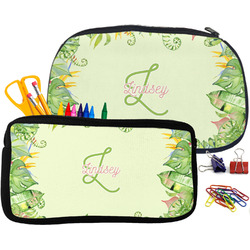 Tropical Leaves Border Pencil / School Supplies Bag (Personalized)