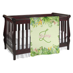 Tropical Leaves Border Baby Blanket (Personalized)