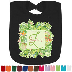 Tropical Leaves Border Baby Bib - 14 Bib Colors (Personalized)