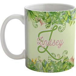 Tropical Leaves Border Coffee Mug (Personalized)