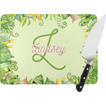 Tropical Leaves Border Rectangular Glass Cutting Board (Personalized)