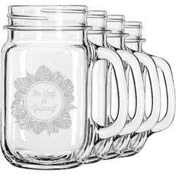 Tropical Leaves Border Mason Jar Mugs (Set of 4) (Personalized)