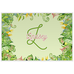 Tropical Leaves Border Laminated Placemat w/ Name and Initial