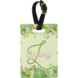 Tropical Leaves Border Rectangular Luggage Tag (Personalized)
