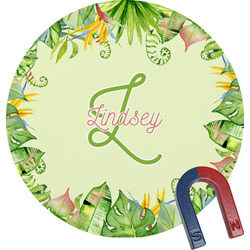 Tropical Leaves Border Round Magnet (Personalized)
