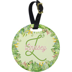 Tropical Leaves Border Round Luggage Tag (Personalized)