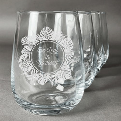 Tropical Leaves Border Stemless Wine Glasses (Set of 4) (Personalized)