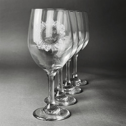 Tropical Leaves Border Wineglasses (Set of 4) (Personalized)