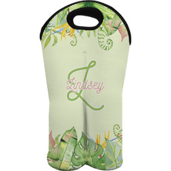 Tropical Leaves Border Wine Tote Bag (2 Bottles) (Personalized)