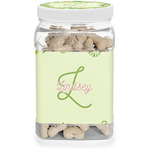 Tropical Leaves Border Dog Treat Jar (Personalized)