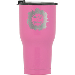 Tropical Leaves Border RTIC Tumbler - Pink (Personalized)