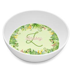 Tropical Leaves Border Melamine Bowl - 8 oz (Personalized)