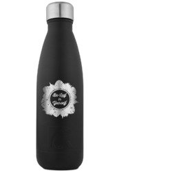 Tropical Leaves Border RTIC Bottle - Black - Engraved Front (Personalized)