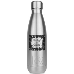 Tropical Leaves Border RTIC Bottle - Silver (Personalized)