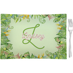 Tropical Leaves Border Glass Rectangular Appetizer / Dessert Plate (Personalized)