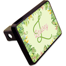"Tropical Leaves Border Rectangular Trailer Hitch Cover - 2"" (Personalized)"