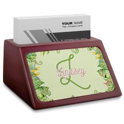 Tropical Leaves Border Red Mahogany Business Card Holder (Personalized)