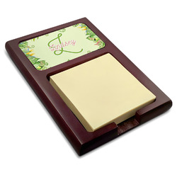 Tropical Leaves Border Red Mahogany Sticky Note Holder (Personalized)