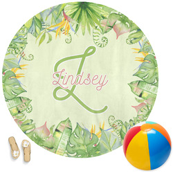 Tropical Leaves Border Round Beach Towel (Personalized)