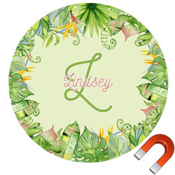 Tropical Leaves Border Round Car Magnet (Personalized)