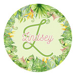 Tropical Leaves Border Round Decal (Personalized)