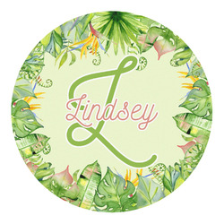 Tropical Leaves Border Round Decal - Custom Size (Personalized)