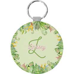 Tropical Leaves Border Round Keychain (Personalized)