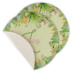 Tropical Leaves Border Round Linen Placemat (Personalized)