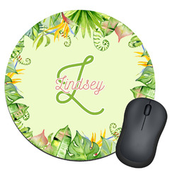 Tropical Leaves Border Round Mouse Pad (Personalized)