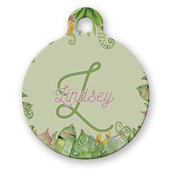 Tropical Leaves Border Round Pet ID Tag (Personalized)