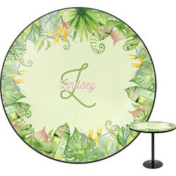 Tropical Leaves Border Round Table (Personalized)