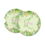 Tropical Leaves Border Sandstone Car Coasters (Personalized)