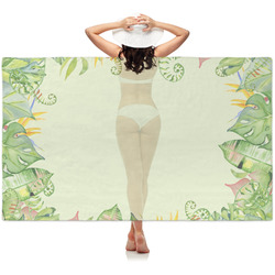 Tropical Leaves Border Sheer Sarong (Personalized)