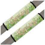 Tropical Leaves Border Seat Belt Covers (Set of 2) (Personalized)