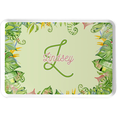 Tropical Leaves Border Serving Tray (Personalized)