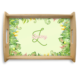 Tropical Leaves Border Natural Wooden Tray (Personalized)